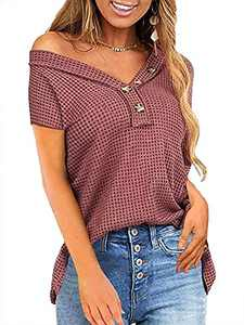 Womens V Neck Waffle Shirts Off Shoulder T-Shirt Button Up Loose Casual Tops Wine Red