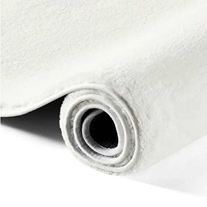 BEDSURE Living Room Area Rug - Super Soft Carpet Fluffy Faux Rabbit Fur Shaggy Rugs Non Slip Mat, White, 80cm x 150cm