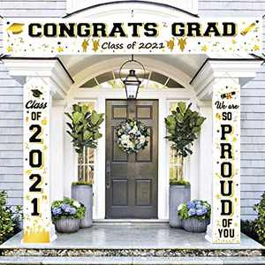 FAHZON Graduation Decoration Banners-Class of 2021 & We are So Proud of You Graduation Party Supplies-Large Banner-Congrats Grad Class of 2021 -Indoor/Outdoor Graduation Party Decoration-White…