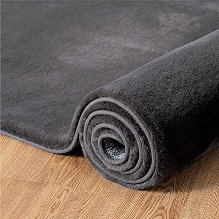 BEDSURE Grey Living Room Rug - Super Soft Carpet Fluffy Faux Rabbit Fur Shaggy Area Rugs Non Slip Mat, 120cm x 170cm