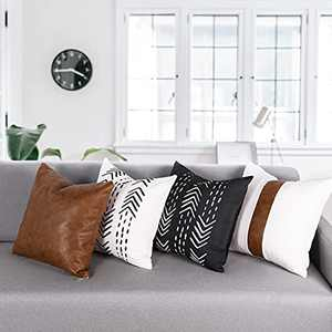 Boho Decorative Throw Pillow Covers for Couch, Faux Leather Pillow Covers 18x18 inches Set of 4,Black and White Arrow Modern Farmhouse Decor