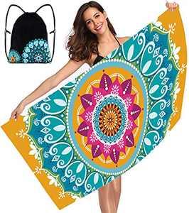 "Beach Towel, Microfiber Beach Towels Oversized, Sand Free Mandala Beach Towel for Adults Women Absorbent Quick Dry Pool Towel (31.5"" x 63"")"