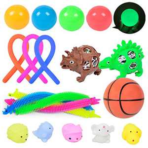A AINOLWAY Sensory Fidget Toys Set, 18pcs Stress Relief and Anti-Anxiety Tools Bundle for Kids and Adults, Squeeze Balls/Glow Ceiling Ball/Stretchy String/Mochi Squishy/Football (Dinosaur)