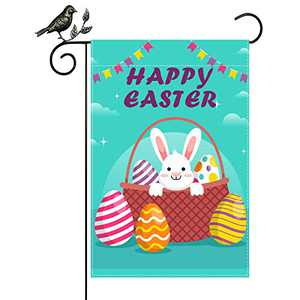 Happy Easter Garden Flag Decoration Easter Bunny Eggs Home Decor for Yard Outdoor Farmhouse Easter Decorations, 12 x 18 Inch Vertical Double Sided Decorative, Oxford Cloth Spring and Summer Flags.