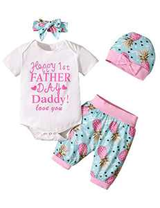 Baby Boys Girls 1st Father's Day Outfits Newborn First Father's Day Bodysuit (White-Fahter's Day, 6-12 Months)