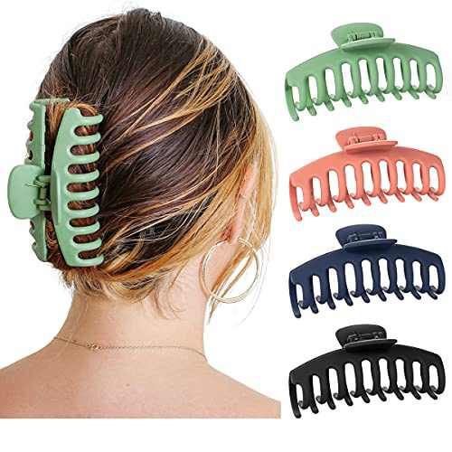 Big Matte Hair Claw Clip Nonslip Jaw for Thick Hair - Strong Hold Claw Clips Trendy Jumbo for Women and Girls (4 Packs)