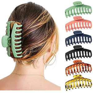Big Matte Hair Claw Clip Nonslip Jaw for Thick Hair - Strong Hold Claw Clips Trendy Jumbo for Women and Girls (6 Packs)
