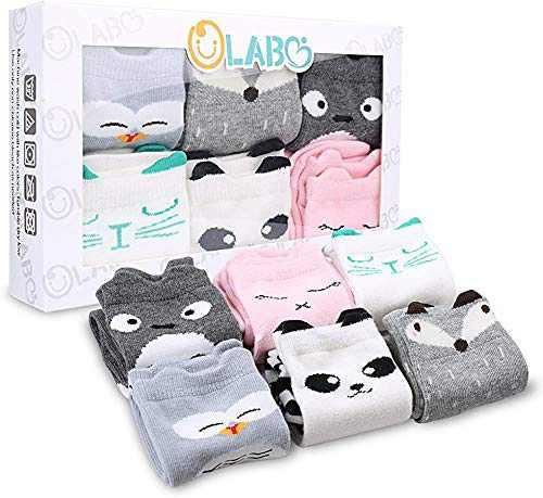 Olabb Baby Knee High Socks 0-12 Months,6 Pairs Toddler Girl Socks Soft Boy Socks for Newborn Infant (Unisex D, s)