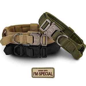 Tactical Dog Collar - KCUCOP Military Dog Collar with Mama Says I m Special Patch Thick with Handle K9 Collar Tactipup Dog Collars Adjustable Heavy Duty Metal Buckle for M,L,XL Dogs(Green,L)