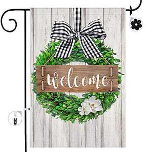 Bonsai Tree Boxwood Wreath Welcome Garden Flag Double Sided, Farmhouse Buffalo Plaid Bow Vertical Yard Flags 12 x 18 Prime, Spring Summer Flowers Rustic Home Lawn Decorations Outside