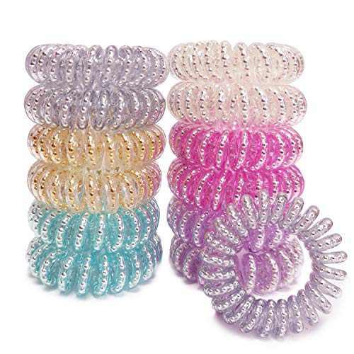 TEQIFU Spiral Hair Ties, 12 Pack Coil Hair Ties Hair Elastics Hair Band Multiple Colour Waterproof Phone Cord Hair Scrunchies Hair Coils Accessories for Women Girls