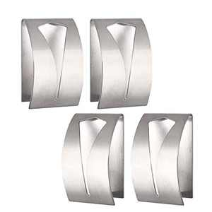 4 Pieces Self Adhesive Towel Hook Holder Grabber, Kitchen Dish Towel Holder, Stainless Steel Kitchen Dish Wall Mount Non-Drilling Towel Hook Tea Towel Holders for Kitchen Bathroom