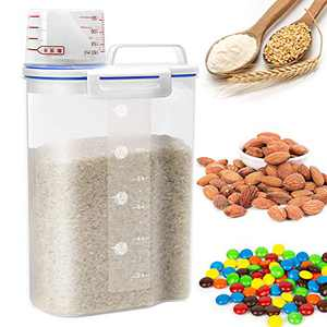 Rice Cereal Container Storage - Airtight Dry Food Rice Container Storage BPA Free Plastic Small Rice Dispenser with Measuring Cup Pour Spout for Rice Cereal Beans Flour Sugar - 5LB