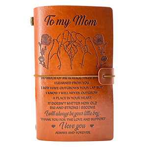 Mothers Day Gifts from Son, Mom Gifts from Son, to Mom Leather Journal Birthday Gifts, Personalised Retro Diary Notebook Christmas Gifts for Mommy - I Will Always be Your Little boy