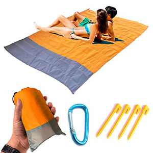 """WADEKING Beach Blanket 79"""" x 57"""" Compact Picnic Mat, Waterproof, Sand Free, Quick Drying, Lightweight and Durable, with Storage Bag, Carabiner, Stakes,for Outdoor (Orange Gray)"""