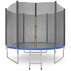 Trampoline 10 FT, Outdoor Trampoline for Kids and Adult, Jump Recreational Trampolines 330 LBS Weight Capacity with Safety Enclosure Net, Spring Pad,Waterproof Jump Mat & Ladder