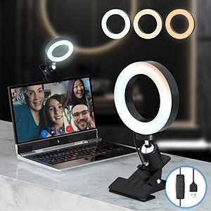 Video Conference Lighting Kit,Computer/Laptop Moniter LED Video Light Dimmable 3200k-6500K Ring Light for Remote Working/Zoom Calls/Self Broadcasting/Live Streaming
