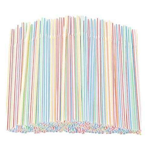 100/200/300/600 Pcs Flexible Plastic Straws, Disposable Bendable Plastic Stripes Multiple Colors Straws (600 Pcs)