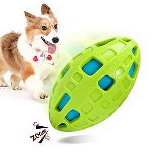 yoken Squeaky Dog Toys, Outdoor Interactive Football Dog Toys, Puppy Durable Chew Ball, Float on Water Summer Toy, Indestructible Durable Pet Toys for Small Medium Large Breed Dogs