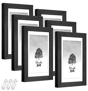 Oruxtto 4X6 Picture Frames(Black,6pack)Solid Wood with HD Real Glass,3.5X5 Mat,Mount Hardware Included,Wall and Tabletop Decor
