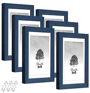 Oruxtto 4X6 Picture Frames(Blue,6pack)Solid Wood with HD Real Glass,3.5X5 Mat,Mount Hardware Included,Wall and Tabletop Decor