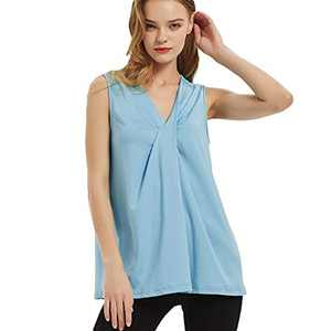 S.CHARMA Womens Tank Tops, Casual Vest Tops for Women UK V Collar Tie Plain Loose T Shirt Summer Top