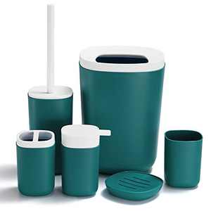 GERUIKE Bathroom Accessories Set 6 Piece Plastic Includes Soap Dispenser,Trash Can,Soap Dish,Toilet Brush Holder,Toothbrush Holder,Toothbrush Cup for Bathroom,Dark Green