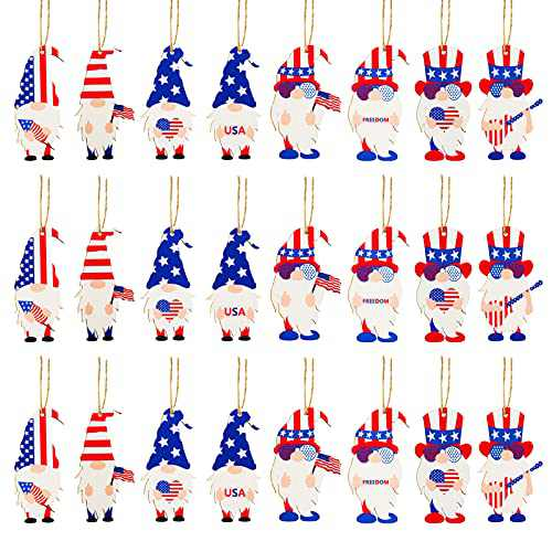 Dongzhur 24 Pcs Patriotic Gnome Wood Ornaments - 4th of July Ornaments Gnome Wooden Pendant Leprechaun Gnome Ornament Decorations for Independence Day Tree Table Shelf Window Decorations