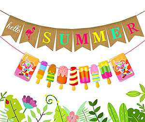 Happy Summer Banner - 2 Pcs Hello Summer Banner Garland Rustic Summer Ice Cream Banner for Camp, Outdoor, Birthday, School Party Hawaiian Beach Themed Party Decorations