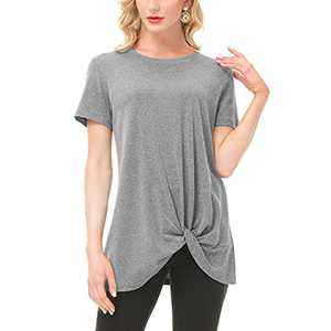 SIMIYA Women's Comfy Casual Tops Twist Knot Soft Tunics Long/Short Sleeve Round Neck Blouses Loose Tshirts