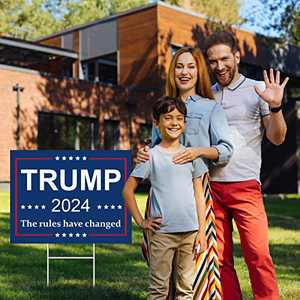 Trgowaul Trump 2024 The Rules Have Changed Yard Signs, Bright Blue Outdoor Yard Signs with Stakes,Donald Trump Blue Lawn Signs Decorations