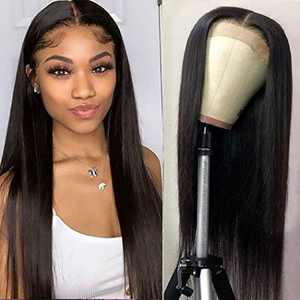 Lace Front Wigs Human Hair Straight Lace Closure Wigs for Black Women, 150% Density Brazilian Virgin Human Hair Wigs Pre Plucked with Baby Hair Natural Color (22 Inch)