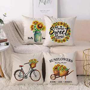 CARRIE HOME Summer Outdoor Pillow Covers Farmhouse Sunflower Throw Pillow Covers 18x18 Set of 4 Sunflower Decor for Home Bedroom Living Room and Porch
