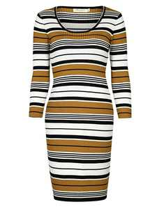 DREFBUFY Women's Sweaters Long Sleeve Crewneck Ribbed Pencil Midi Dresses with Knit Striped Sweater Bodycon Dress for Women (Mustard, M)