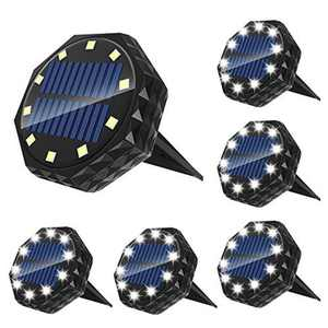 Solar Ground Lights Upgraded Solar Lights Outdoor Garden of 10LED, IP68 Waterproof Disk Lights for Decking Walkway Yard Lawn Patio Pathway Stairs Fences etc. - 6Pcs