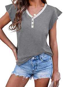 KIDDAD Womens V-Neck Ruffle Shirt Button Done Henley Tee Casual Summer Short Sleeve Tunic Shirt Cap Sleeve (Gray, S, s)