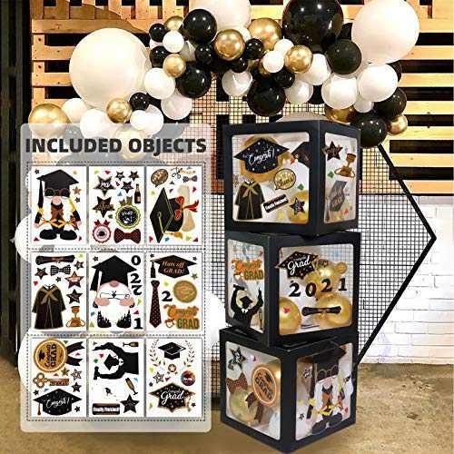 2021 Graduation Decorations Balloon Boxes - 3 Pcs Black Balloon Boxes, 9 Sheets Congrats Grad Gnome Stickers, Perfect for Graduation School Celebration Party Supplies