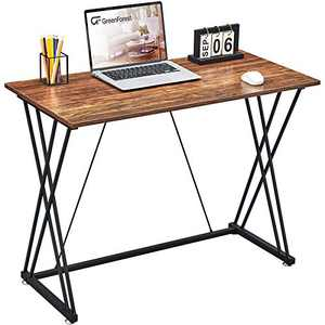 GreenForest Small Computer Desk 39inch for Home Office Easy Assembly Simple Writing Study Desk with Double Sturdy X Leg Pc Workstation Laptop Table, Walnut