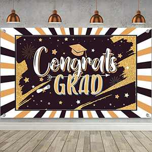 2021 Graduation Decorations Party Backdrop Large Banner for Class, Grad Photography Background Congrats Sign Graduation Favors Supplies and Prom Booth Indoor Outdoor (Black)