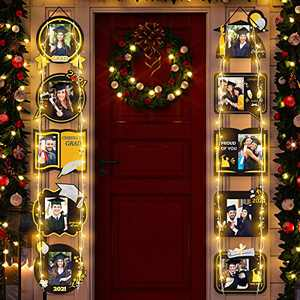 Trgowaul 2021 Graduation Decorations, Graduation Porch Sign Photo Props with String Light, Class of 2021 & Congrats Graduation Black Gold Hanging Banner Photo Signs Graduation Party Supplies (Style A)