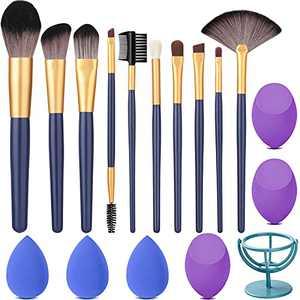 Lunasea Makeup Brushes Set Premium Synthetic Foundation Face Powder Blush Concealers Eyeshadow Brushes Makeup brushes Kits and Beauty Blender Sponge Holder (10+6pcs)