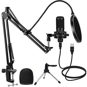 HAIPUSEN Computer Microphone Kit, Professional PC USB Mic for Streaming Instruments Voiceovers Recording, Broadcast Studio, YouTube Vlogging, Gaming, Podcasting, Zoom Calls, Karaoke