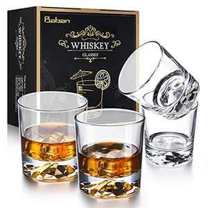 Whiskey Gift Sets for Men, Whiskey Glasses Set of 4, 310ml Glasses Cut Transparent Vintage Whiskey Rum Cocktail Drinkware Glasses Gift Set for Men Husband Birthday Anniversary