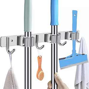 Broom Mop Holder, Wall Mounted Heavy Duty Stainless Steel Storage Rack Organization Tools, Kitchen Garden Garage Or Bathroom Organization and Storage (3 Clip 4Hook)