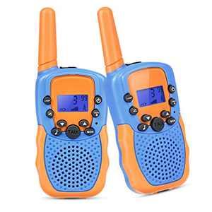 Tyhbelle Set of 2 Walkie Talkies for Kids Two Way Radios Walkie Talkies Long Distance for Camping Biking Hiking Field Survival Outdoor Toys Kids Gifts (Blue/Orange)