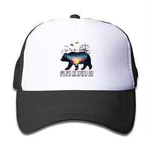 LOKIDVE Bear Mountain Kids Mesh Baseball Cap, Adjustable Trucker Hat Fits Boys Girls 3-13 Years Old Black
