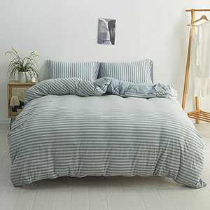 DONEUS Jersey Knit Duvet Cover King Size, 3 Pieces (1 Duvet Cover, 2 Pillowcases) Ultra Soft Stripes Pattern Duvet Cover Set, Easy Care Bedding Set with Zipper Closure, Corner Ties(Blue&Grey Stripes)