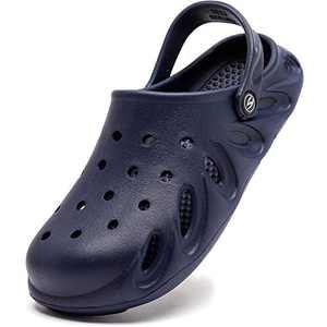 BODATU Womens and Mens Garden Clogs   Slip on Water Shoes   Quick Drying Summer Sandals Navy, Women 9.5/Men 8
