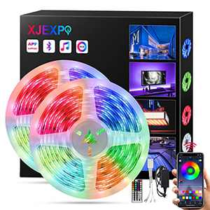 LED Strip Lights Bluetooth Led Lights with App Control Remote, 32.8ft RGB LED Strip Lights for Bedroom,Led Light Strips Music Sync Color Changing Lights for Room Party,Waterproof