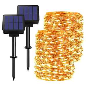 Solar String Lights Outdoor, 200 LED Super Bright Solar Lights Outdoor,Solar Powered Fairy Lights with 8 Lighting Modes,Waterproof Copper Wire Lights for Yard Patio Trees Wedding Party Christmas 2Pack